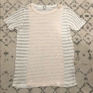 J. crew tissue tee t-shirt nude and white size S